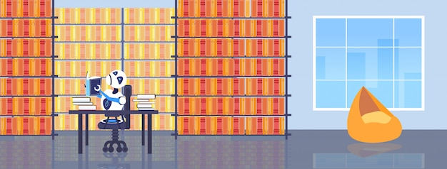 Carattere robot del libro di lettura sveglio del robot che si siede allo scrittorio del posto di lavoro che studia orizzontale moderno dell'interno della biblioteca di concetto di istruzione di tecnologia di intelligenza artificiale