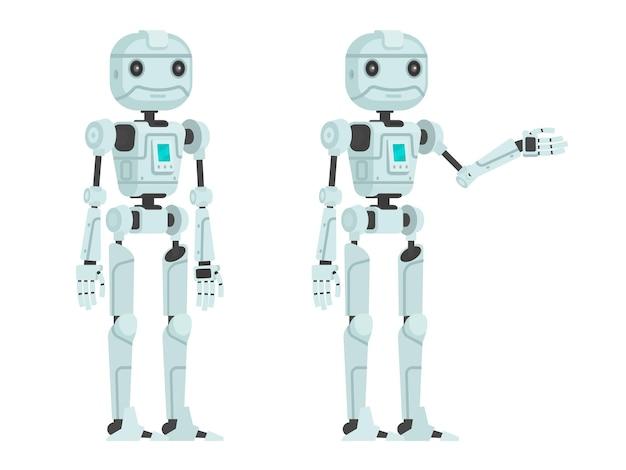 Robot carino su un bianco. in uno stile piatto