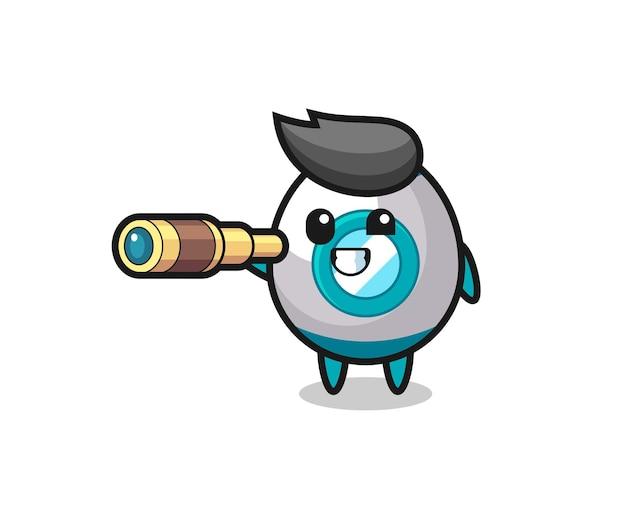 Il simpatico personaggio del razzo tiene in mano un vecchio telescopio, un design in stile carino per maglietta, adesivo, elemento logo