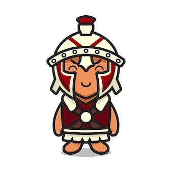 Carino cavaliere romano tenendo la spada del fumetto icona vettore illustrazione. disegno isolato su bianco. stile cartone animato piatto.
