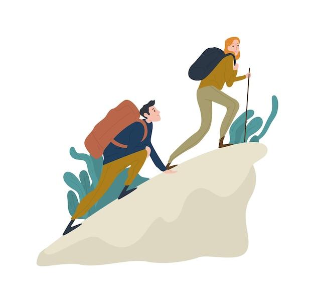 Coppie romantiche sveglie che arrampicano sulla scogliera o sulla montagna. coppia di divertenti escursionisti, turisti o alpinisti isolati su sfondo bianco.