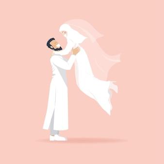 Simpatico personaggio dei cartoni animati di coppia musulmana romantica, uomo che solleva donna, matrimonio musulmano, coppia felice