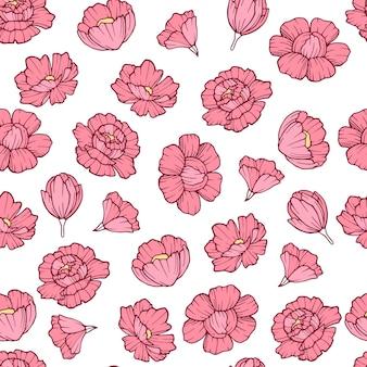 Modello di fiore rosa carino. illustrazione del profilo