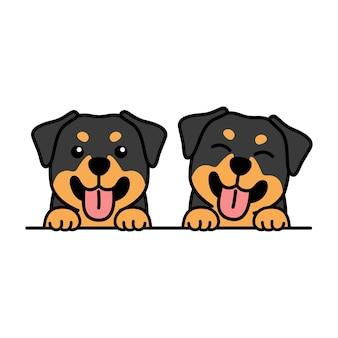Simpatico cartone animato cucciolo di rottweiler Vettore Premium