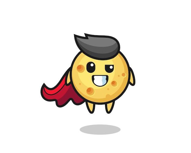 Il simpatico personaggio di formaggio rotondo come un supereroe volante, design in stile carino per maglietta, adesivo, elemento logo