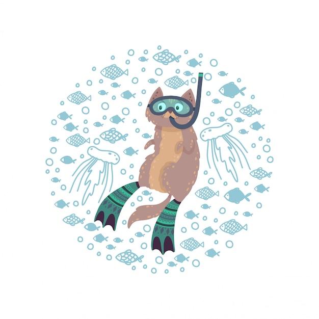 Carino cornice rotonda con un gatto di nuoto circondato da pesci. cat diving in pinne e maschera.