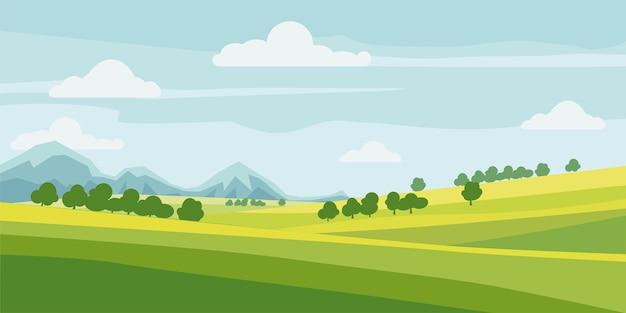 Stile cartone animato carino primavera rurale paesaggio albero campo montagne