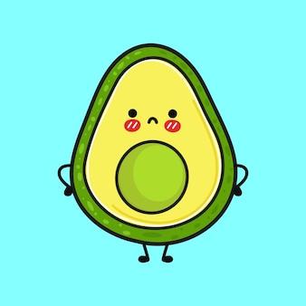 Simpatico personaggio triste di avocado