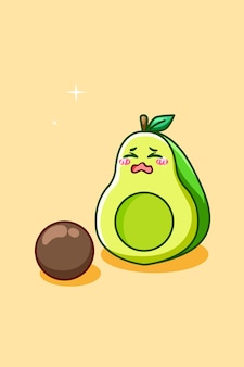 Illustrazione del fumetto dell'icona dell'avocado carino e triste