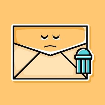Simpatico cartone animato triste cancellato e-mail