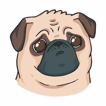 Carino triste pug con grandi occhi