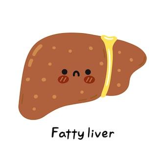 Simpatico personaggio triste malato divertente organo del fegato grasso