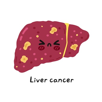 Simpatico personaggio triste malato divertente del cancro dell'organo del fegato