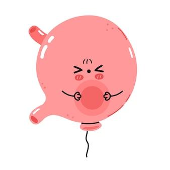 Carino triste malato divertente carattere organo dello stomaco addominale gonfio. icona di vettore piatto fumetto kawaii carattere illustrazione. isolato su sfondo bianco. concetto di personaggio dei cartoni animati gonfio di sensazione di stomaco