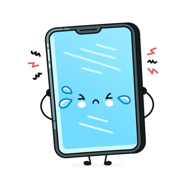 Smartphone triste sveglio isolato su bianco