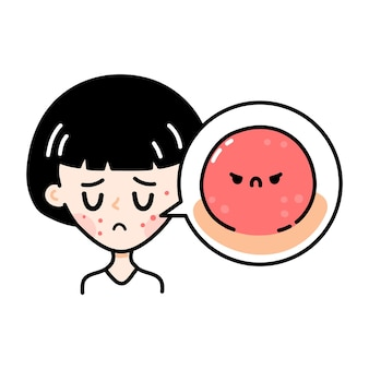 Carina ragazza adolescente triste con acne spaventosa arrabbiata