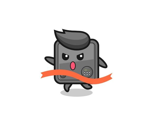 La simpatica illustrazione della cassetta di sicurezza sta raggiungendo il traguardo, il design in stile carino per maglietta, adesivo, elemento logo