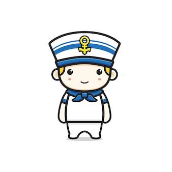 Illustrazione sveglia dell'icona del fumetto del carattere del marinaio. design piatto isolato in stile cartone animato