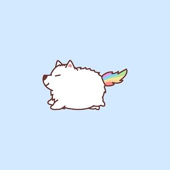 Simpatico cartone animato unicorno samoiedo icona
