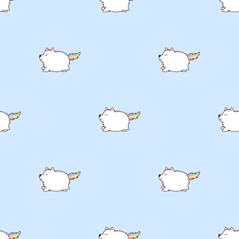Simpatico cartone animato unicon samoiedo seamless pattern