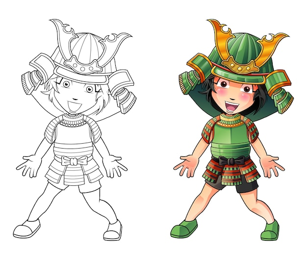 Pagina da colorare di cartone animato carino samurai per bambini