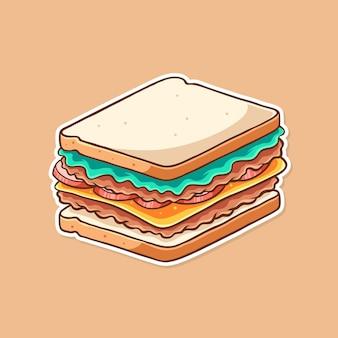 Disegno vettoriale di illustrazione di panino carino