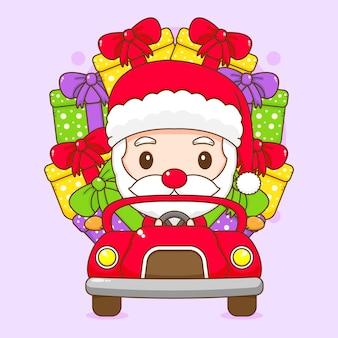 Simpatico babbo natale alla guida di un'auto con confezione regalo personaggio dei cartoni animati chibi