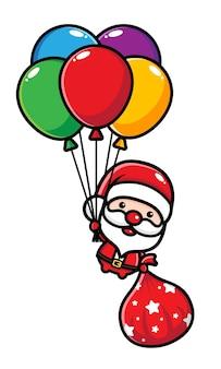 Simpatico babbo natale che vola in palloncini