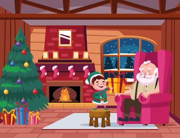 Simpatico babbo natale e aiutante con regalo nell'illustrazione di scena della casa