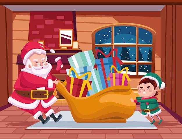 Simpatico babbo natale e aiutante con illustrazione di scena di personaggi borsa regali