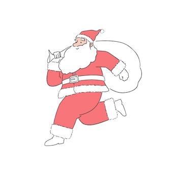 Babbo natale sveglio che salta e che corre alla consegna regali di natale con sfondo bianco, illustrazione di stile arte linea disegnata a mano.