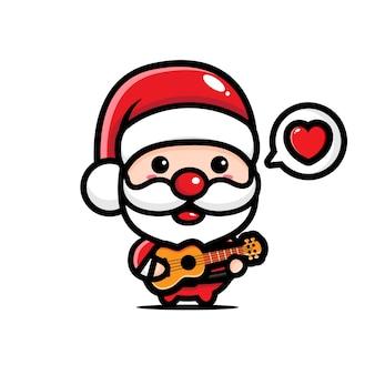 Simpatico babbo natale che suona la chitarra