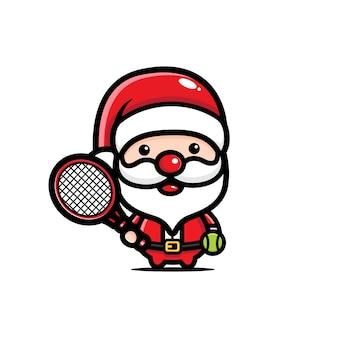 Simpatico babbo natale che gioca a tennis