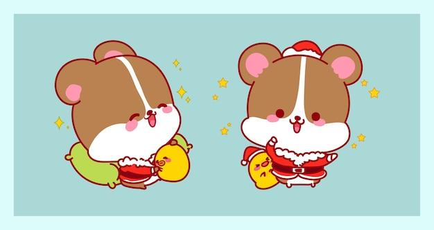 Simpatico babbo natale in costume da ratto isolato su sfondo di buon natale con design di personaggi.