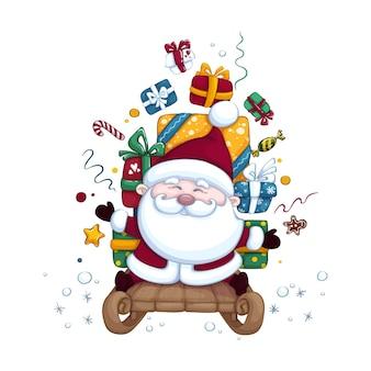 Simpatico babbo natale su una slitta che trasporta scatole di regali. illustrazione di natale o capodanno. carattere isolato.