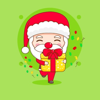 Simpatico babbo natale con confezione regalo personaggio dei cartoni animati chibi