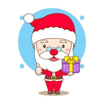 Simpatico babbo natale con scatola regalo che mostra il personaggio dei cartoni animati chibi pollice in su