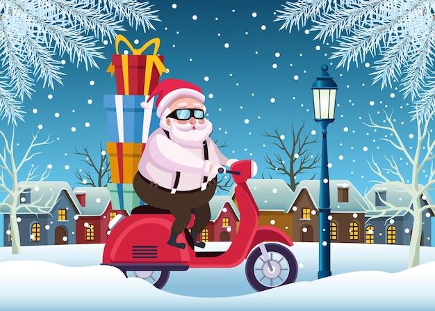 Babbo natale sveglio con i regali nell'illustrazione della scena del motociclo