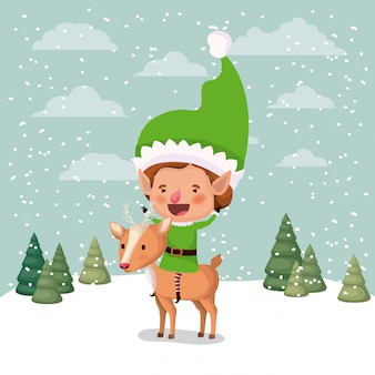 Simpatico aiutante di babbo natale con renne in snowscape