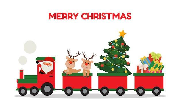 Babbo natale carino e renne in sella al treno di natale. clipart di vacanze invernali. treno che trasporta regali e albero di natale. stile del fumetto di vettore piatto isolato.