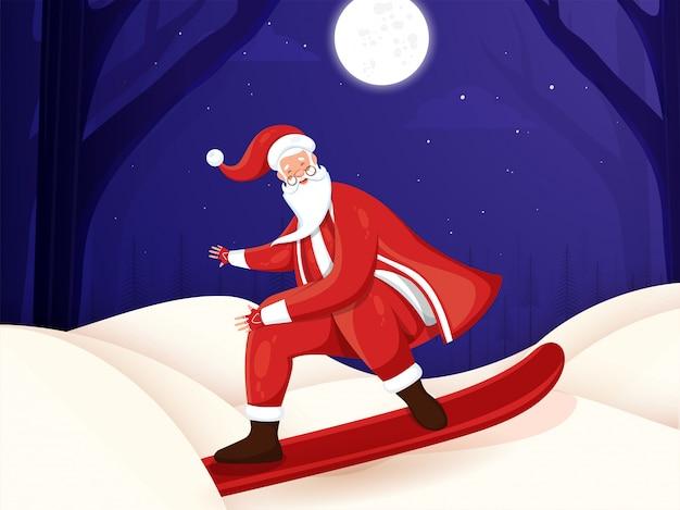 Santa skating sveglia sulla foresta di inverno