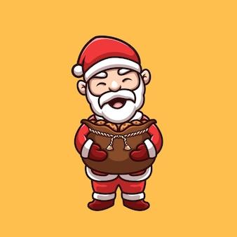Babbo natale carino con regalo di biscotti logo creativo della mascotte dei cartoni animati di natale