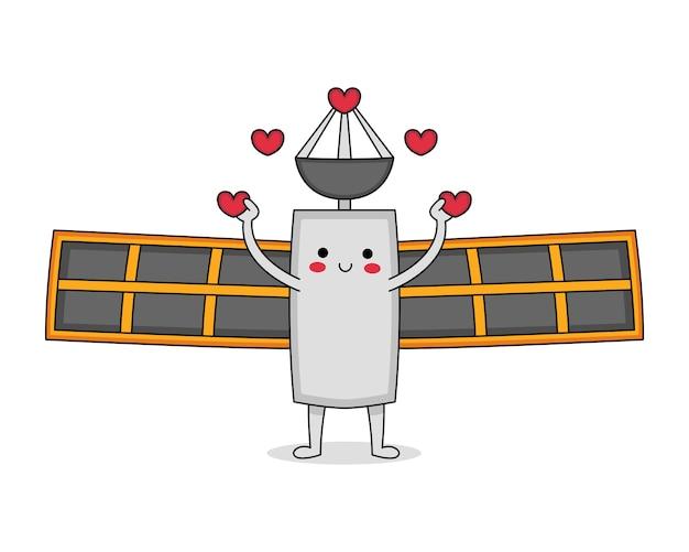 Simpatico personaggio dei cartoni animati satellitare che diffonde amore