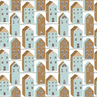 Simpatiche case vacanze scandinave senza cuciture invernali stampa