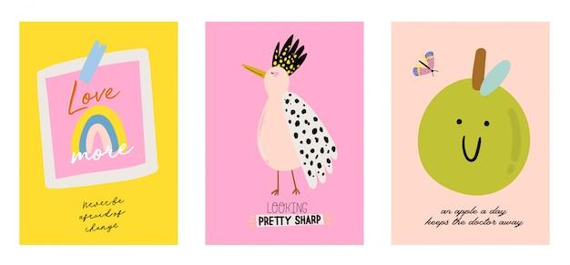 Simpatico set di poster scandinavi con citazioni alla moda e fantastici elementi decorativi disegnati a mano. illustrazione di stile doodle del fumetto per toppe, adesivi, t-shirt, asilo nido, personaggi per bambini. .