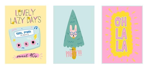 Simpatico set di poster scandinavi con citazioni alla moda e fantastici elementi decorativi disegnati a mano. illustrazione di stile di doodle del fumetto per patch, adesivi