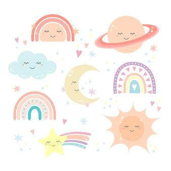 Simpatici oggetti arcobaleno e cielo in stile scandinavo per baby shower