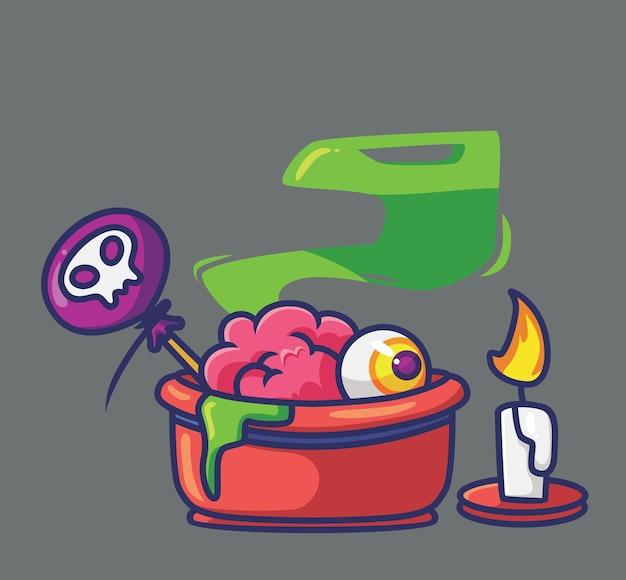 Simpatico cartone animato di caramelle spaventose concetto di evento di halloween illustrazione isolata stile piatto