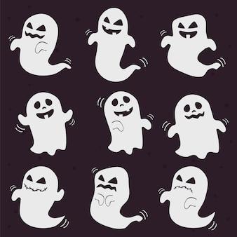 Fantasmi di halloween bianco carino e spaventoso