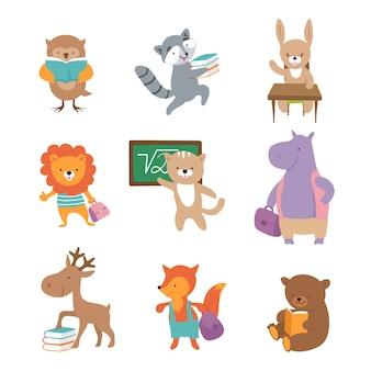 Simpatici animali della scuola. orso procione leone lepre ippopotamo volpe, alunni con libri e zaini. torna a personaggi della scuola